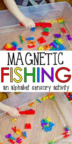 Magnetic Alphabet Fishing - Busy Toddler - Magnetic Alphabet Fishing: a quick and easy toddler activity that's perfect! Alphabet For Toddlers, Indoor Activities For Toddlers, Water Games For Kids, Gross Motor Activities, Games For Toddlers, Literacy Activities, Toddler Alphabet, Preschool Water Activities, Play Activity