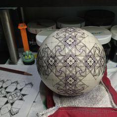 Ostrich egg in progress - modified paradox zentangle design