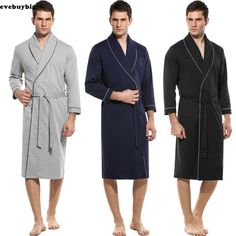 2018 Men s Cotton Robe Kimono Long Bathrobe Sleepwear Wedding Grooms Xmas  Gift  Bathrobe  Cotton 9bbc9b2a2