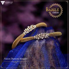 Designer Bangles, Gold Bangles Design, Gold Earrings Designs, Gold Jewellery Design, Diamond Jhumkas, Diamond Bangle, Diamond Studs, Indian Jewelry Sets, Indian Wedding Jewelry