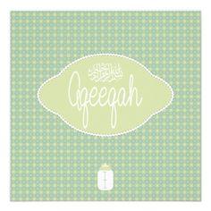 Islamic Islam soft green Aqeeqah Aqiqah vintage Personalized Announcement - Great bulk discount available!
