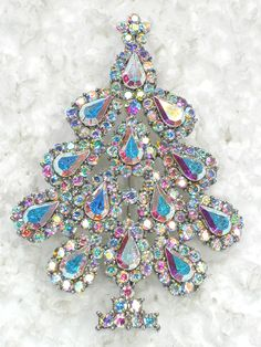 Clear AB Rhinestone Crystal Christmas Tree Pin Brooch