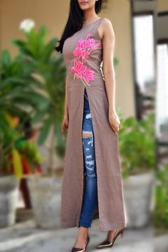 Buy Pastel Brown Pure Linen Embroidered A-Line Kurti by Colorauction - Online shopping for Kurtis in India Kurta Designs, Blouse Designs, Simple Kurti Designs, Casual Dresses, Fashion Dresses, Dresses For Work, Long Kurti With Jeans, Kurti For Jeans, Embroidery Suits