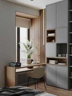 Study Room Design, Small Room Design, Room Design Bedroom, Home Room Design, Bedroom Decor, Apartment Interior, Apartment Design, Room Interior, Office Interior Design