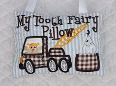 Tooth Fairy Pillow In The Hoop Embroidery Design 2 sizes for hoops and Brother Embroidery Machine, Machine Embroidery Applique, Applique Patterns, Applique Designs, Hand Embroidery, Sewing Patterns, Tooth Pillow, Tooth Fairy Pillow, Zine