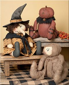 """Halloween , Mummy, Witch or Pumpkin Head Size: 8½ - 12"""" Tall Material: Fabric"""