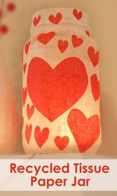 DIY Tissue Paper Heart Jar