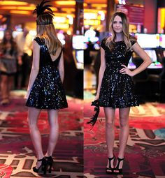 "Black Sequin Party Dress, Mrkt Black Heels //""Vegas Masquerade Party"" by Madeline Becker // LOOKBOOK.nu"