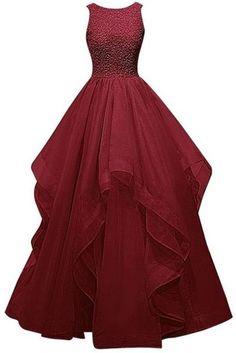 Burgundy O Neck Prom Dress,Long Chiffon prom Dress,Simple