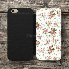 Pink Floral Wallet Case For iPhone 6S Plus 5S SE 5C 4S case, Samsung Galaxy S3 S4 S5 S6 Edge S7 Edge Note 3 4 5 Cases