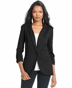 Style&co. Ruched-Sleeve Single-Button Blazer - Blazers - Women - Macy's