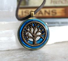 Sky blue and brass tree of life necklace | Nature with You - Unique Handmade Jewelry