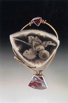 """""""Apple Pin"""" graphite drawing on cast polyester, sterling silver, 14k gold, garnet, crazy-lace agate Ali Wieboldt Exhibiting member in Jewelry"""