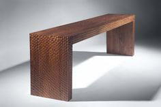 Adzed console  2005  Walnut by Zelouf and Bell