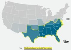 The South, based on 41,947 Vox readers