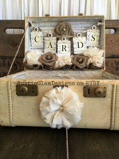 Vintage Suitcase Wedding Card Box Wedding by RusticGlamDesigns