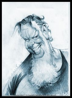 Metallica James Hetfield caricature sketch [Copyright Nelson Santos] by caricaturas, via Flickr