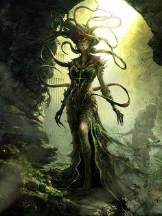 "scifi-fantasy-horror: ""Vraska - Card illustration for Return to Ravnica / Magic: The Gathering by Aleksi Briclot "" Dark Fantasy Art, Fantasy Artwork, Fantasy Kunst, Fantasy World, Dark Art, Fantasy Trees, Fantasy Rpg, Mtg Art, Image Digital"