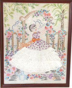Vintage Wall Hanging Embroidered Southern