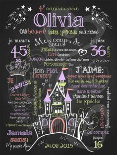 Affiche personnalisée anniversaire 2 à 5 ans Belle princesse (lilas)   28,00$ #chalkboard #lacraieco