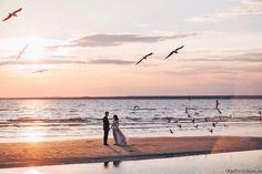 Wedding photo at sunset