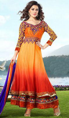 Scintillating Coral/Orange Anarkali Suit Price: Usa Dollar $139, British UK Pound £82, Euro103, Canada CA$151 , Indian Rs7506.