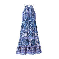 Rebecca Taylor Sleeveless Dreamweaver Midi Dress (520 CAD) ❤ liked on Polyvore featuring dresses, indigo combo, sleeveless dress, long silk dress, blue print dress, long dresses and ruched midi dress