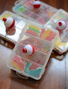 Tackle box with gummies for a nautical gift bag — P as in Party