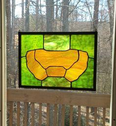 Master Chief Halo minimalist stained glass window suncatcher