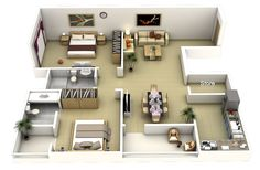 Thoughtskoto: 50 3D FLOOR PLANS, LAY-OUT DESIGNS FOR 2 BEDROOM HOUSE OR…