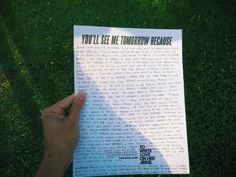 """""""You'll see me tomorrow because..."""" by Anis Mojgani #Tomorrow15 #WorldSuicidePreventionDay"""