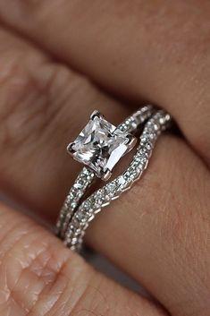 Breathtaking Princess Cut Engagement Rings ❤ See more: http://www.weddingforward.com/princess-cut-engagement-rings/ #weddingforward #bride #bridal #wedding