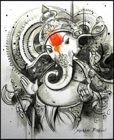 Buy Ganesha artwork number a famous painting by an Indian Artist Shekhar Ballari. Indian Art Ideas offer contemporary and modern art at reasonable price. Arte Ganesha, Ganesha Sketch, Ganesha Drawing, Lord Ganesha Paintings, Krishna Painting, Shri Ganesh, Ganpati Drawing, Ganesha Pictures, Ganesh Images