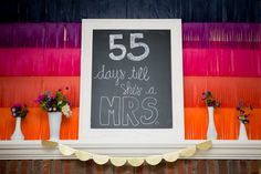 Bridal Shower Sign | Wedding Day Countdown | Photography: Carrie Johnson Photography | Event Design: Nat Your Average Girl Pastel Colour Bridesmaid Dresses, Wedding Guest Book, Wedding Day, Wedding Cards, Wedding Invitations, Day Countdown, Gold Color Scheme, Bridal Shower Centerpieces, Bridal Shower Signs