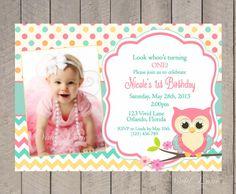 Owl Birthday Invitation - First Birthday, Girl, Teal, Pink, Orange, Chevron, Polka Dots, 1st, 2nd, 3rd, 4th, Party, Kids Birthday- 262