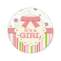 It's a Girl Pinks and Green Stitches Baby Shower Round Stickers