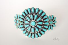 Turquoise Needlepoint Cuff Navajo Jewelry Sterling. $289.00, via Etsy.