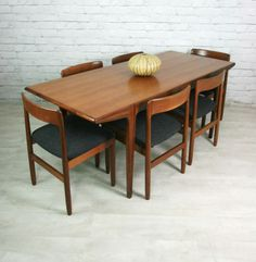 YOUNGER FONSECA RETRO VINTAGE TEAK MID CENTURY DINING TABLE & 6 CHAIRS 1950s 60s | eBay
