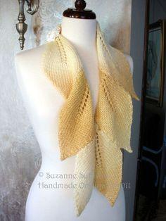 Hand knit leaf scarf