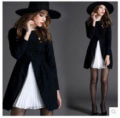 long sleeve high neck winter black basic pea coat 2017 new chiffon lining spring autumn women pleated dress