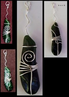 Jade in silver wire (to make a necklace pendant).