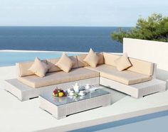 Panama - Modern Sectional Sofa Set-Modern patio sectional sofa setIncludes matching coffee table with tempered glass topWeatherproof wicker constructionFeatures extended sectional sofa frame which can be used as end tablesCushions provide extra comfo Outdoor Sofa Sets, Rattan Outdoor Furniture, Outdoor Sectional, Sofa Furniture, Garden Furniture, Modern Sectional, Sectional Sofa, Canapé Design, Sofa Frame