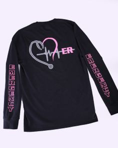 Black Long Sleeve w/ Pink Lettering ER Shirt Mens fit $24.99 - CRITICAL CARE WEAR
