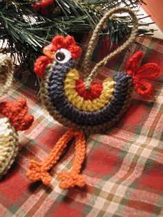 Crochet rooster ornament.