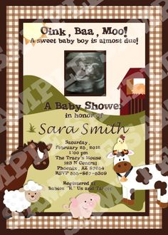 Custom Farm Animals Baby Shower Invitations   ***Invitations available in 4x6 or 5x7 for same price! (please make sure you let me know what