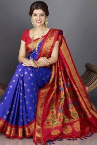 Traditional indigo blue Paithani silk saree with magenta border. We bring to you handwoven-on-order Paithani silk saree from master weaver of Maharashtra. Bridal Sarees South Indian, Indian Bridal Outfits, Maharashtrian Saree, Rome Outfits, Rekha Saree, Indigo Saree, Gota Patti Saree, Saree Blouse Neck Designs, Blouse Designs