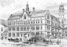 Caption: The Rutherford College Building in Bath Lane, Newcastle upon Tyne, from a drawing by T.R. Dawson 1887. This is on a site linked to the hisory of university of northumbria- it was one of the colleges that formed the polytechnic - been reading speech by joseph cowen about the importance of art from when the foundation stone was laid. 1877.