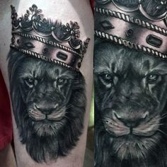 Cool Lion With Metallic Crown Mens Thigh Tattoo Deigns