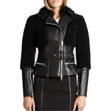 Burberry London Womens Oxvale Leather Shearling Jacket
