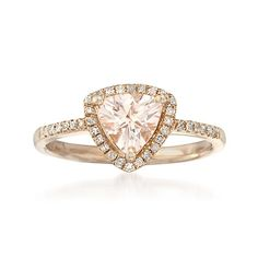 1.05 Carat Morganite and .20 ct. t.w. Diamond Ring in Sterling Silver